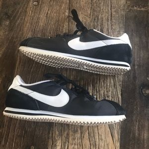 Nike Cortez Black Nylon and Suede Shoes size 8